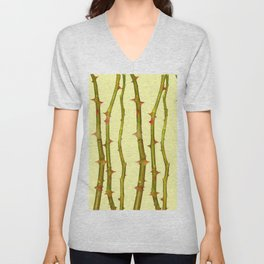 THORN BUSH CANES ABSTRACT IN YELLOW ART Unisex V-Neck