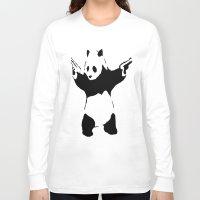 banksy Long Sleeve T-shirts featuring Banksy Panda1 by vie3