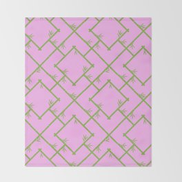 Bamboo Chinoiserie Lattice in Pink + Green Throw Blanket
