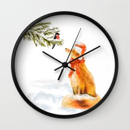 Christmas card with cute fox and bullfinch Wall Clock