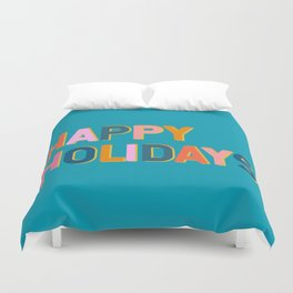 Colorful Happy Holidays Typography Duvet Cover