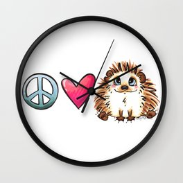 Peace, Love and Hedgehogs Wall Clock