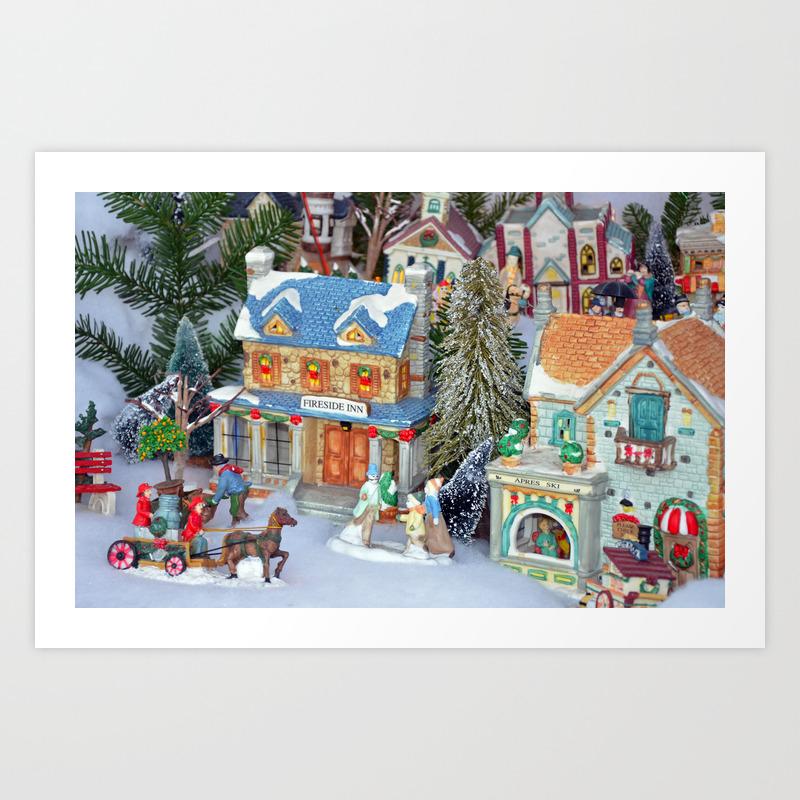 Miniature Christmas Village.Miniature Christmas Village Art Print