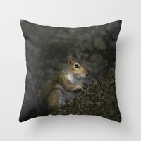 squirrel Throw Pillows featuring Squirrel by Judith Lee Folde Photography & Art