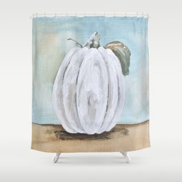 Tall white pumpkin Shower Curtain