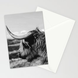 Highland Cow Looking in the Distance Black and White Stationery Cards