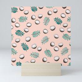 Little coconut garden summer surf palm leaves pink Mini Art Print