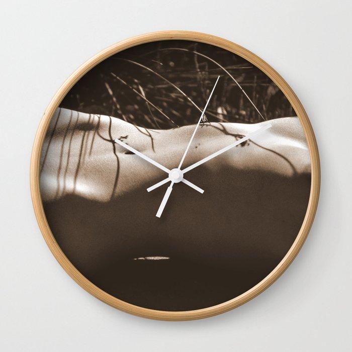 Nude Sunbathing Sepia Wall Clock