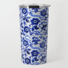 Azulejos blue floral pattern Travel Mug