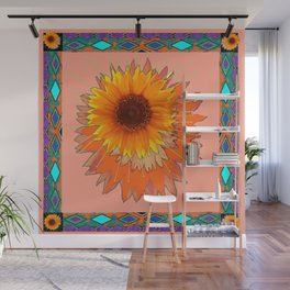 Coral Color Western Style Floral Abstract Wall Mural