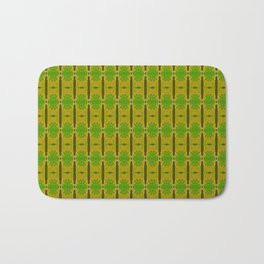Heliconia Green Gold Stalks Pattern Bath Mat