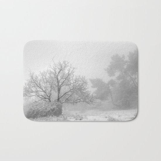 """""""Into the snowy forest"""". Foggy mountains Bath Mat"""
