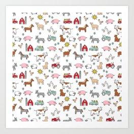 Farm animals nature sanctuary cow pig goats chickens kids gender neutral Art Print