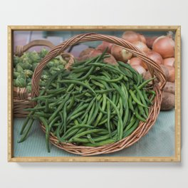 Basket of Fresh Green Beans Serving Tray