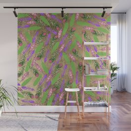 Modern chic faux gold pink purple green watercolor feathers Wall Mural