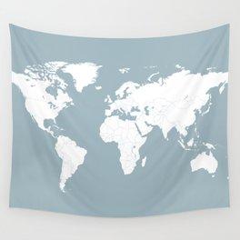 Minimalist World Map in Slate Blue Wall Tapestry