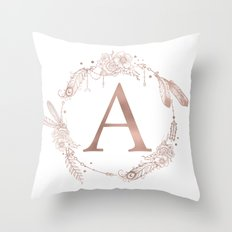 Letter A Rose Gold Pink Initial Monogram Throw Pillow