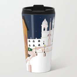 Spanish Steps in Snowy Rome Travel Mug