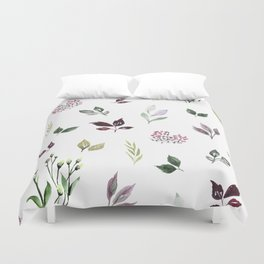 Tiny watercolor leaves Duvet Cover
