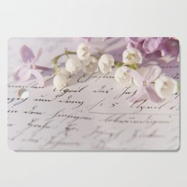 Loveletter - Springflower and old letter - Photography Cutting Board