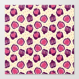 seamless pattern with many red pomegranate  Canvas Print
