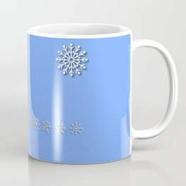 Five Unique Snowflakes in a Row on Sky Blue Background Coffee Mug