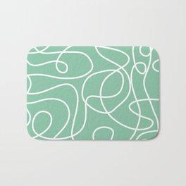 Doodle Line Art | White Lines on Bright Green Bath Mat