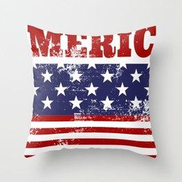 America Grunge Rubber Stamp Design Throw Pillow