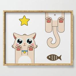 Cream Pastel Cat Serving Tray