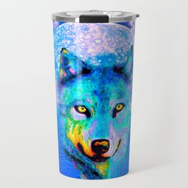 Wolf Moon and the Deep Blue Sea Travel Mug