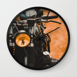 Old motorcycle, custom scrambler, man cave gift, café racer, custom motorbike Wall Clock