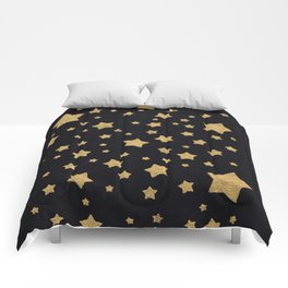 Gold Stars on BLack Comforters