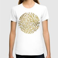 coral T-shirts featuring Gold Coral by Cat Coquillette