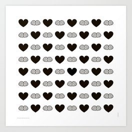 Hearts & Brains / S01-BW Version Art Print