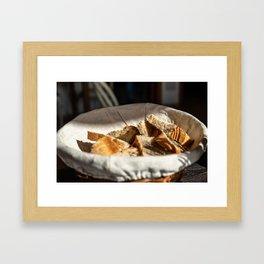 A bread basket on an italian table Framed Art Print