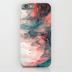 Watercolor dark green & red, abstract texture iPhone 6s Slim Case