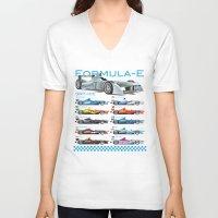 formula 1 V-neck T-shirts featuring Formula E Cars by Pleasure Time