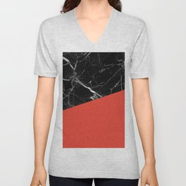 Black Marble with Cherry Tomato Color Unisex V-Neck
