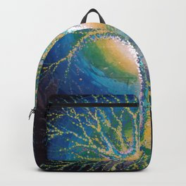 neural tree painted on glass - neuron pictura pe sticla Backpack