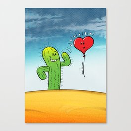 Spiky Cactus Flirting with a Heart Balloon Canvas Print