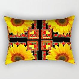 QUATRE WESTERN BLACK & RED ART DECO YELLOW SUNFLOWER Rectangular Pillow
