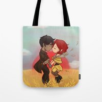 transistor Tote Bags featuring Transistor by gohe1090