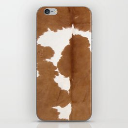 Tan and white cowhide texture iPhone Skin