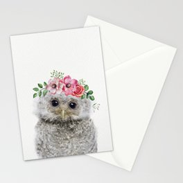 Baby Owl with Flower Crown Stationery Cards