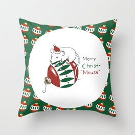 Merry Christmas Mouse Throw Pillow