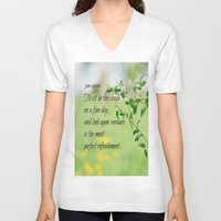 jane austen V-neck T-shirts featuring Jane Austen Refreshment by KimberosePhotography