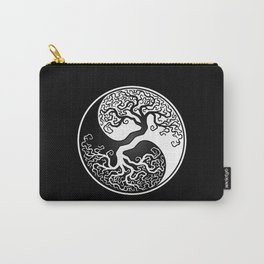 White and Black Tree of Life Yin Yang Carry-All Pouch
