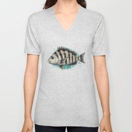 """Sheepshead Splash"" by Amber Marine ~ Watercolor Fish Painting (Copyright 2016) Unisex V-Neck"