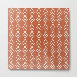 African Mudcloth, Terracotta, Boho Wall Art Metal Print