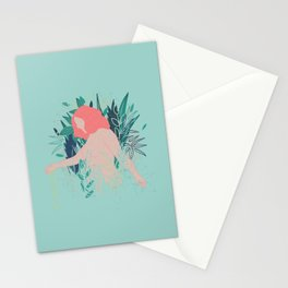 Nude in coral pink going through the garden Stationery Cards